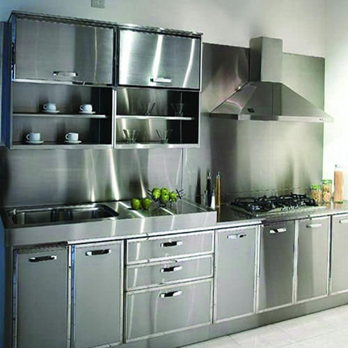 Image Of Stainless Steel Kitchen Cabinet In A Modern Luxury Home.