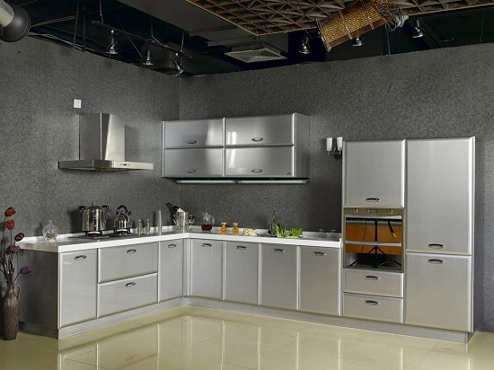 Simple Elegant Stainless Steel Kitchen Area In Modern Home.