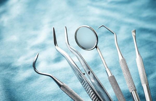 A Set of  metal medical dental equipment tools for dental surgery.
